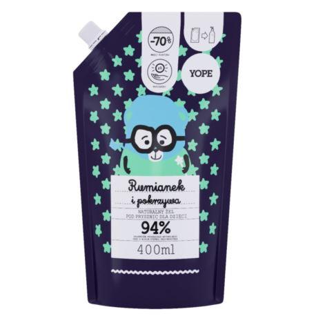 Naturalny Żel pod Prysznic dla Dzieci, Rumianek i Pokrzywa, Refill Pack, Yope, 400 ml