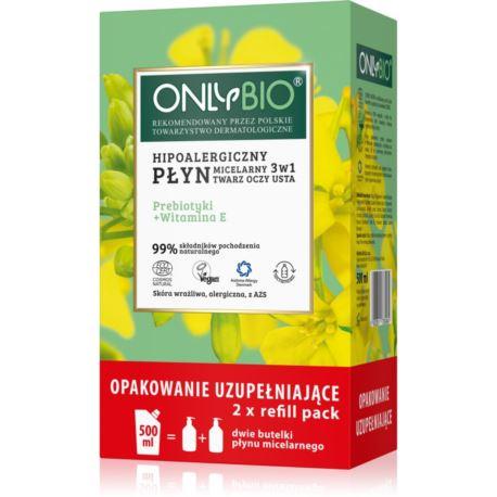 Hipoalergiczny Płyn Micelarny 3w1 Twarz, Oczy, Usta, Refill Pack, OnlyBio, 500 ml