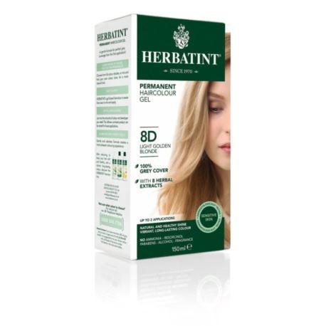 Trwała Farba do Włosów w Żelu, 8D Jasny Złoty Blond, Herbatint, 150 ml