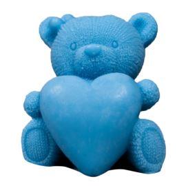 Duży Miś z Sercem, Niebieski, Mydło Glicerynowe, LaQ, 120g