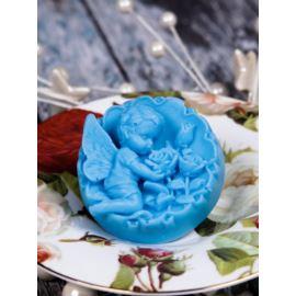 Anioł z Różami w Medalionie, Niebieski, Mydło Glicerynowe, LaQ, 100g