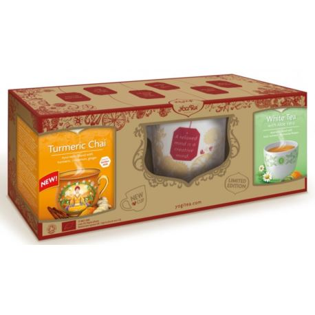 Zestaw Kubek i Herbaty Złoty Chai, Biała z Aloesem, Yogi Tea