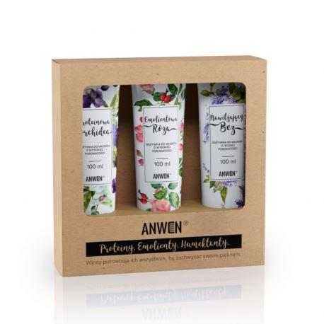 Zestaw Odżywek do Włosów o średniej Porowatości z Orchideą, Anwen, 3x100ml