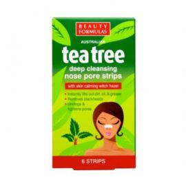 Głęboko Oczyszczające Paski na Nos, Olejek z Drzewa Herbacianego, Beauty Formulas, 6 szt.