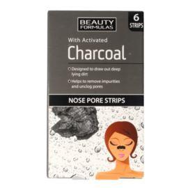 Oczyszczające Paski na Nos, Węgiel Aktywny, Beauty Formulas, 6 szt.