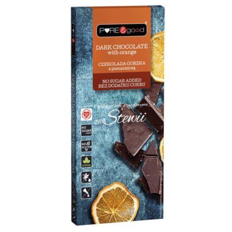 Czekolada Gorzka z Pomarańczą ze Stewią bez cukru, Pure&Good,125g