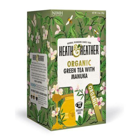 Organiczna Zielona Herbata z Miodem Manuka, Heath & Heather, 20 szt.