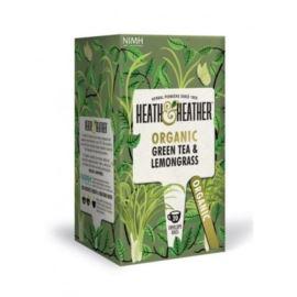 Organiczna Zielona Herbata z Trawą Cytrynową, Heath & Heather, 20 szt.