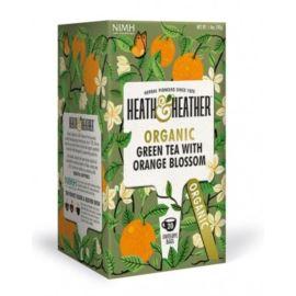 Organiczna Zielona Herbata z Kwiatami Pomarańczy, Heath & Heather, 20 szt.