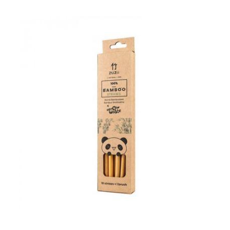 Wielorazowe Słomki Bambusowe 10 szt z wyciorem,Zuzii